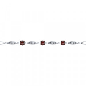 925 Sterling Silver bracelets with garnet and cubic zirconia