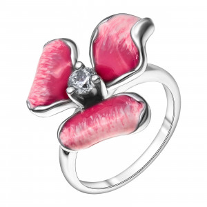 925 Sterling Silver women's ring with enamel and cubic zirconia