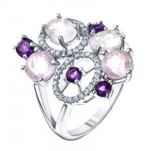 925 Sterling Silver women's rings with amethyst and pink quartz
