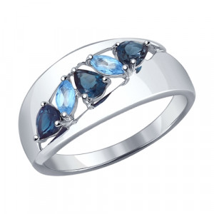 925 Sterling Silver women's rings with topaz and london topaz