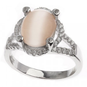 925 Sterling Silver women's ring with cubic zirconia and cat's eye