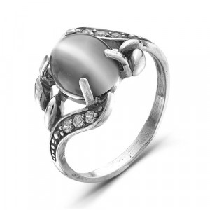 925 Sterling Silver women's rings with cubic zirconia and cat's eye