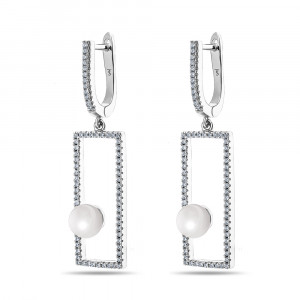 925 Sterling Silver pair earrings with mallorca and