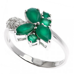 925 Sterling Silver women's ring with cubic zirconia and green agate