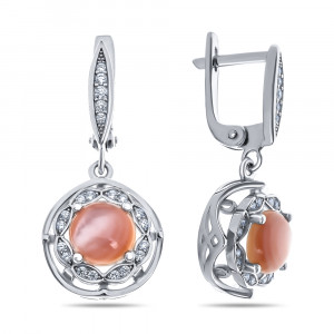 925 Sterling Silver pair earrings with pink mother of pearl