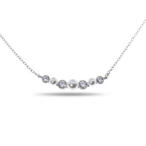 925 Sterling Silver necklaces with cubic zirconia and pearl cult.
