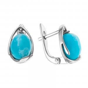 925 Sterling Silver pair earrings with larimar and