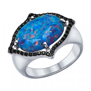 925 Sterling Silver women's ring with synthetic opal