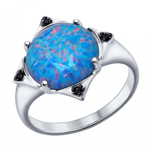 925 Sterling Silver women's rings with synthetic opal