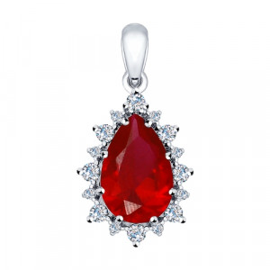 925 Sterling Silver pendants with synthetic rubin and cubic zirconia