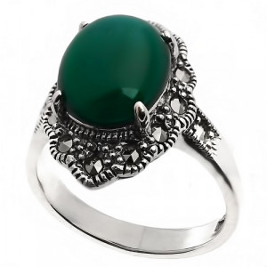 925 Sterling Silver women's rings with synthetic green agate and green agate