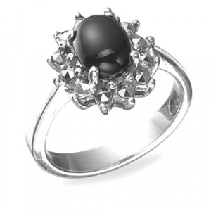925 Sterling Silver women's ring with onyx and green agate