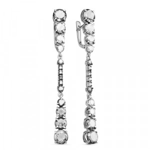 925 Sterling Silver pair earrings with crystal jewelry and crystal