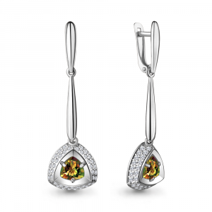 925 Sterling Silver pair earrings with sultanic and cubic zirconia