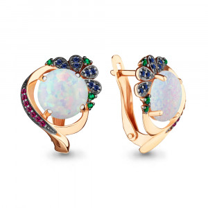 925 Sterling Silver pair earrings with nano emerald and nano-tourmaline