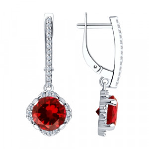 925 Sterling Silver pair earrings with synthetic corundum and cubic zirconia