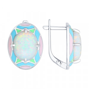 925 Sterling Silver pair earrings with cubic zirconia and synthetic opal