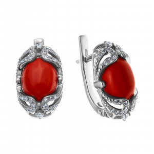 925 Sterling Silver pair earrings with coral and cubic zirconia