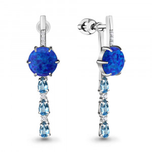 925 Sterling Silver pair earrings with synthetic blue opal and london topaz