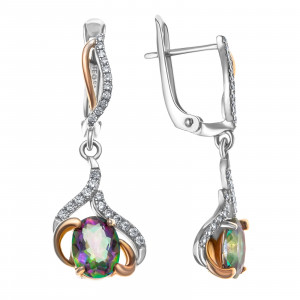925 Sterling Silver pair earrings with mystic quartz and