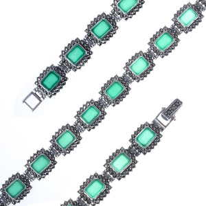 925 Sterling Silver bracelets with green agate and marcasite