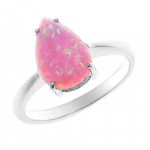 925 Sterling Silver women's ring with pink opal