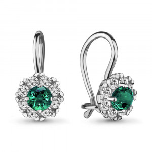 925 Sterling Silver pair earrings with synthetic spinel and cubic zirconia