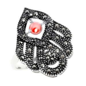 925 Sterling Silver women's ring with marcasite