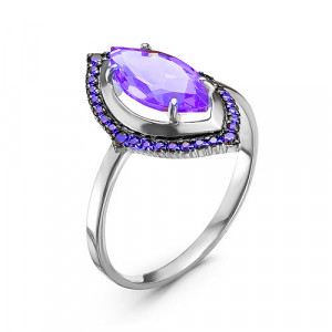 925 Sterling Silver women's rings with cubic zirconia and amethyst
