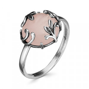 925 Sterling Silver women's rings with  and pink quartz