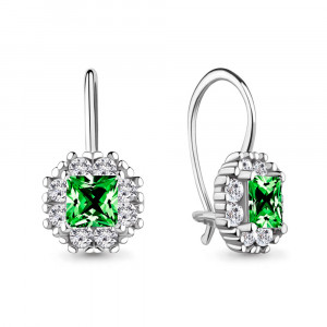 925 Sterling Silver pair earrings with glass and cubic zirconia swarovski