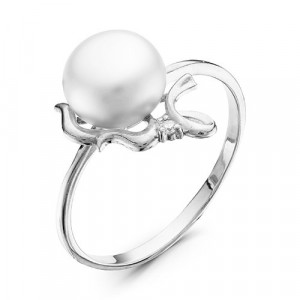 925 Sterling Silver women's ring with pearl and cubic zirconia