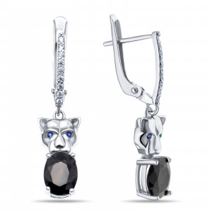 925 Sterling Silver pair earrings with sapphire and cubic zirconia