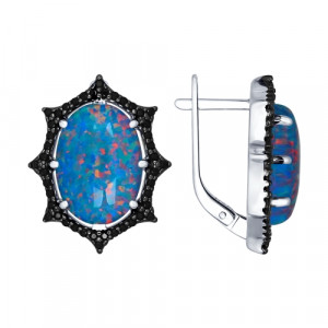 925 Sterling Silver pair earrings with synthetic opal