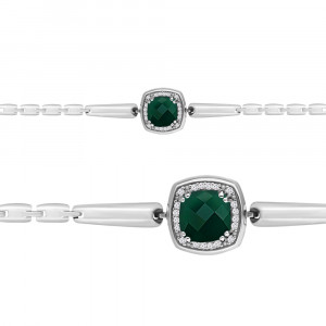 925 Sterling Silver bracelets with cubic zirconia and green agate