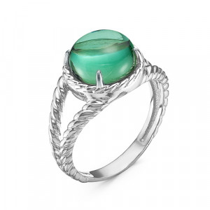 925 Sterling Silver women's rings with imit. coral and green agate