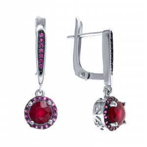 925 Sterling Silver pair earrings with rubin
