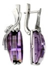 925 Sterling Silver pair earrings with amethyst and rauchtopaz