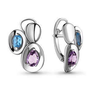 925 Sterling Silver pair earrings with  and amethyst