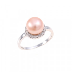 925 Sterling Silver women's ring with cubic zirconia and pink cult.pearl