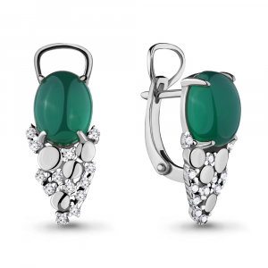 925 Sterling Silver pair earrings with nano emerald and green agate