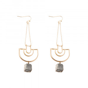 Bijuterii Alloy pair earrings with leather and quartz