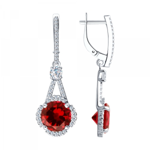 925 Sterling Silver pair earrings with cubic zirconia and synthetic corundum
