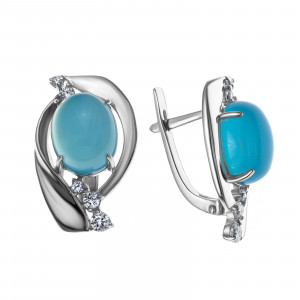 925 Sterling Silver pair earrings with chalcedony and cubic zirconia