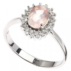 925 Sterling Silver women's ring with pink quartz