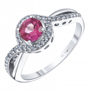 925 Sterling Silver women's rings with pink topaz and cubic zirconia