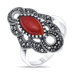 925 Sterling Silver women's rings with carnelian and synthetic carnelian