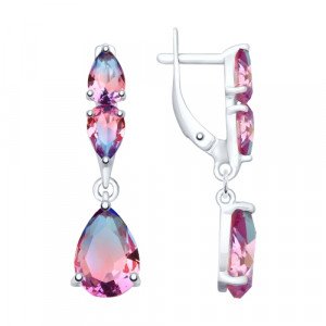 925 Sterling Silver pair earrings with  and sitall