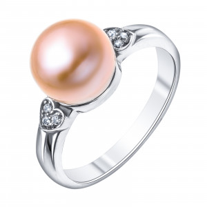 925 Sterling Silver women's ring with pink cult.pearl