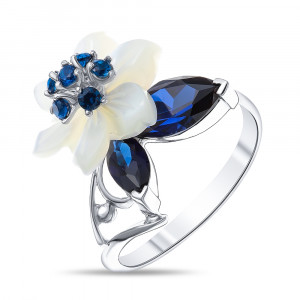 925 Sterling Silver women's rings with sapphire and mother of pearl